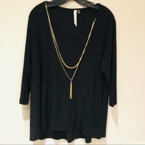 NY Collection 1X Scoop Black 3/4 Sleeve Top
